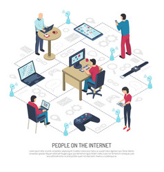 people on internet isometric vector image