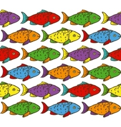 Rainbow Fish Seamless Pattern vector image
