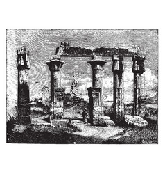 Ruins thebes 18th dynasty vintage engraving vector