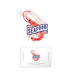 Seafood restaurant logo prawn watercolor vector
