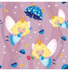 Seamless happy fairy vector