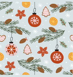 seamless pattern with pine branch vector image