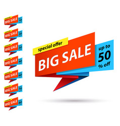 Set banners at discount on big sales vector