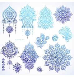 set indian floral paisley ornaments vector image