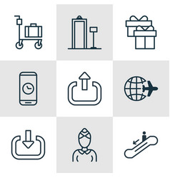 Set of 9 transportation icons includes hostess vector