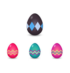 set of argyle and line pattern painted easter eggs vector image