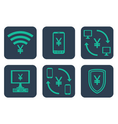 set of icons about online payments with yen or vector image