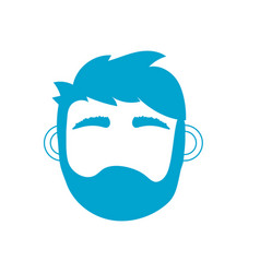 silhouette man head with closed eyes and hairstyle vector image