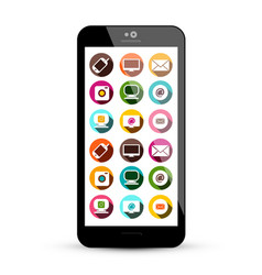 smart phone with colorful technology app icons on vector image