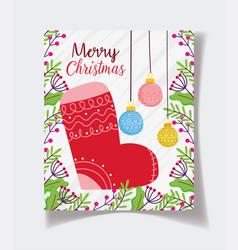 stocking balls decoration foliage celebration vector image