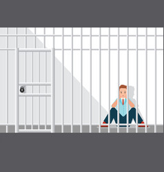 Stressed businessman sitting in the jail vector