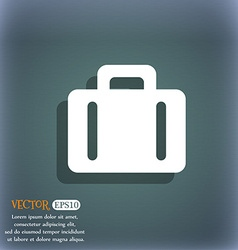 suitcase icon symbol on the blue-green abstract vector image