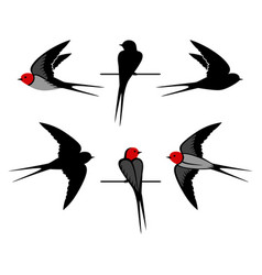 Swallow silhouettes vector