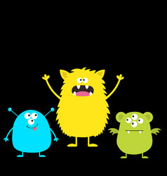 Three colorful monster set head face cute cartoon vector