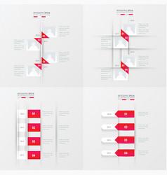 timeline 4 item pink gradient color vector image