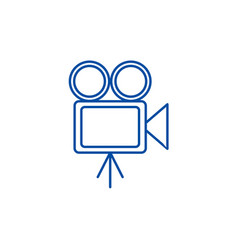 video cinema retro camera line icon vector image