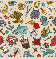 vintage nautical tattoos seamless pattern vector image