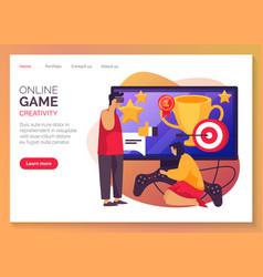 Website banner for online video games development vector