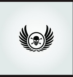 Winged skull design icon vector