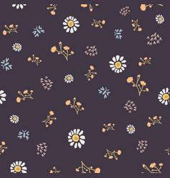 Winter flower daisy motif on dark brown background vector