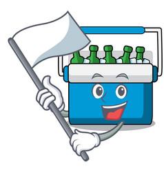 With flag freezer bag mascot cartoon vector