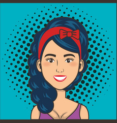 Woman smiling face comic pop art style vector