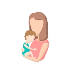 young mother holding her bacartoon icon vector image