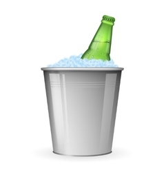 Beer with ice in metal bucket isolated on white vector image vector image