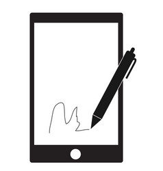 Digital signature with stylus pen and mobile vector