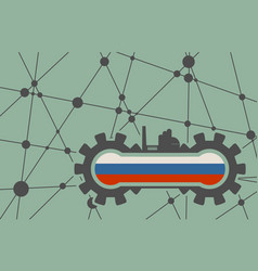 flag of the russia build in gear vector image vector image