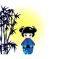 Kokeshi doll and bamboo vector image