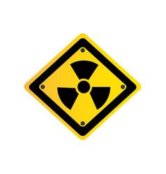 metal emblem warning radiation sign vector image
