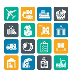 Silhouette Cargo and shipping icons vector image vector image