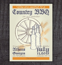hand drawn vintage invitation on country barbecue vector image