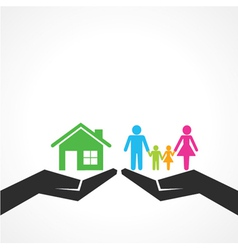 Comparison of home with family vector image