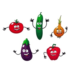 Cucumber pepper onion eggplant and tomato vector image