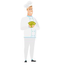 happy caucasian chef cook holding money vector image