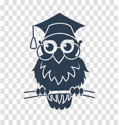 silhouette icon back to school owl vector image