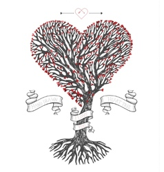 Tree crown like heart with leafs vector image