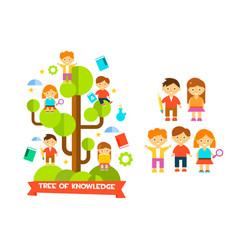tree of knowledge with boys ad girls education vector image