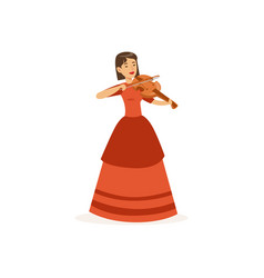 woman violinist performing musical composition vector image