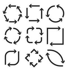 arrows in circular motion round square oval vector image
