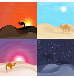 colorful sand desert landscape templates vector image