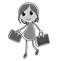 Girl and bags vector image vector image
