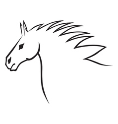 horse head contour vector image vector image