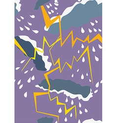 Seamless pattern with thunderstorm and rain vector image