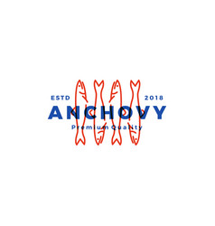 anchovy fish logo hipster vintage retro label vector image