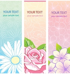 beautiful vertical floral banners set vector image vector image