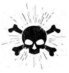 Black hand drawn skull and crossbones in vintage s vector