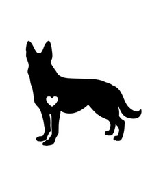Black silhouette of german shepherd dog with vector